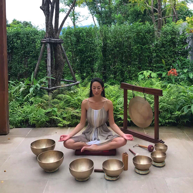 Vivienne Tang at Sound Healing Singing Bowls Asaya Wellness Rosewood Phuket - Destination Deluxe